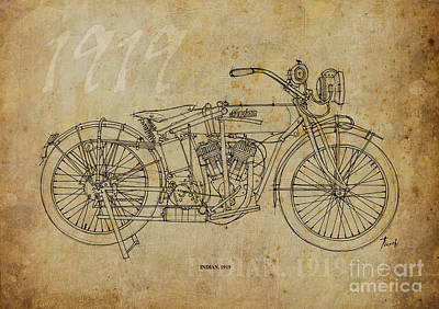 Bike Painting - Indian 1919 by Pablo Franchi