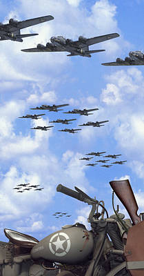 Indian 841 And The B-17 Panoramic Print by Mike McGlothlen