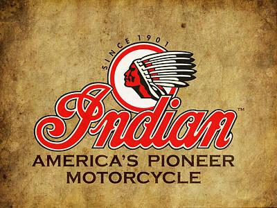 Harley Photograph - Indian America's Pioneer Motorcycle by Mark Rogan