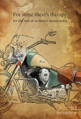 Harley Drawing - Indian Bike Portrait And Quote by Pablo Franchi