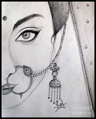 Gold Earrings Drawing - Indian Bride by Prajakta P