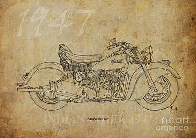 Regalo Drawing - Indian Chief 1947 by Pablo Franchi