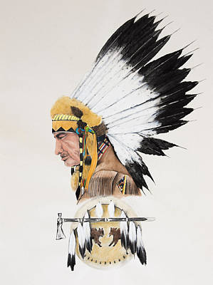 Indian Chief Contemplating Print by Joe Lisowski