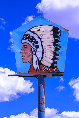 Indian Chief Sign Print by Garry Gay