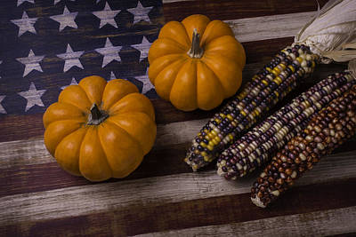 Thanksgiving Art Photograph - Indian Corn On Old Flag by Garry Gay