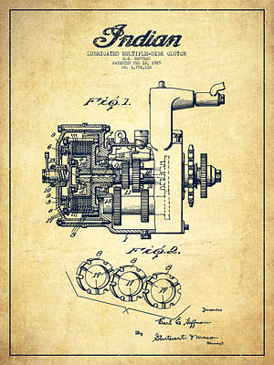 Motorcycle Digital Art - Indian Disk Clutch Patent Drawing From 1929 - Vintage by Aged Pixel