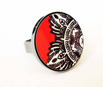 Statement Ring Jewelry - Indian Flower In Black White Red Ring by Rony Bank