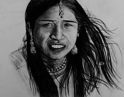 Indian Girl Print by Caroline  Reid