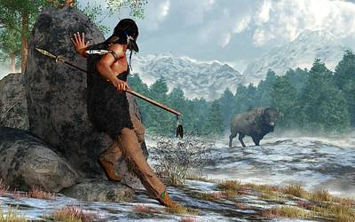 Bison Digital Art - Indian Hunting With Atlatl by Daniel Eskridge