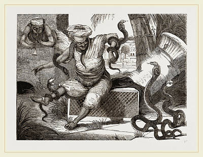 Indian Jugglers And Snakes Print by Litz Collection