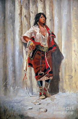 Pd Painting - Indian Maid At Stockade By Charles Marion Russell by Pg Reproductions