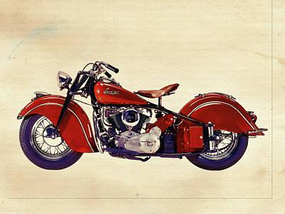 Indian Motor Bike Print by David Ridley
