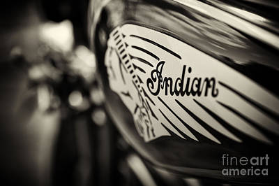 Indian Motorcycle Sepia Print by Tim Gainey