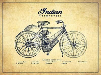 Indian Motorcycle - Vintage Print by Aged Pixel