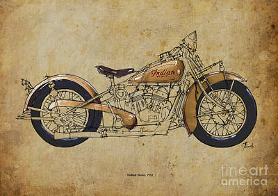 Indian Ink Painting - Indian Scout 1932 by Pablo Franchi