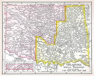 Indian Territory Map Print by Russell Shively