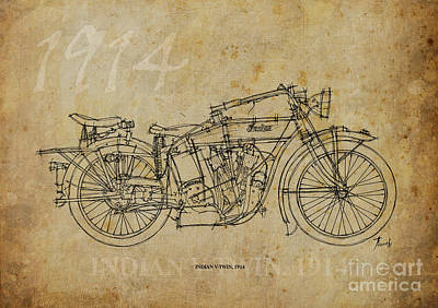 Bicycle Drawing - Indian V-twin 1914 by Pablo Franchi
