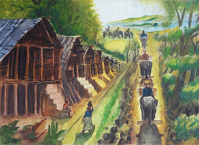 Indian Art Painting - Indian Village Life - 14 by Bhanu Dudhat