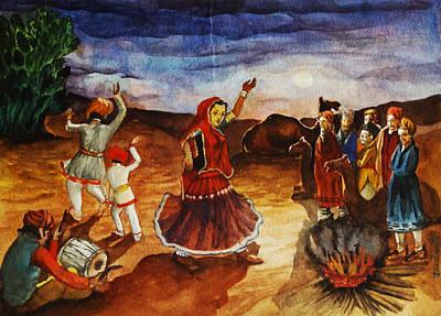 Indian Village Life - 3 Print by Bhanu Dudhat