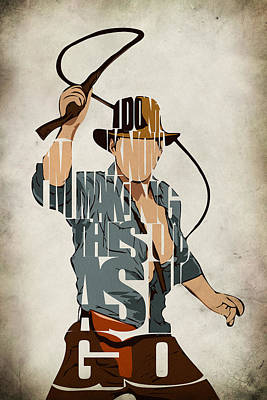 Typography Digital Art - Indiana Jones - Harrison Ford by Ayse Deniz
