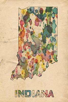 United States Map Painting - Indiana Map Vintage Watercolor by Florian Rodarte