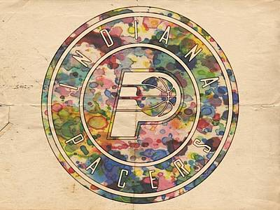 Basketball Painting - Indiana Pacers Logo Vintage by Florian Rodarte