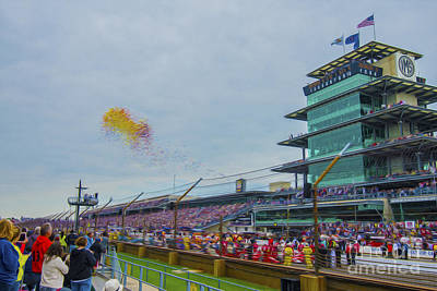 Indy Car Photograph - Indianapolis 500 May 2013 Balloons Race Start by David Haskett