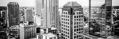 Indiana Photograph - Indianapolis Aerial Black And White Panorama Photo by Paul Velgos