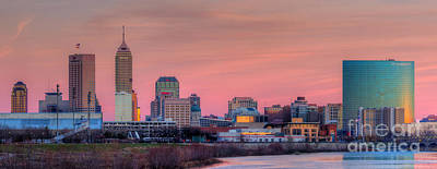 Indianapolis At Sunset Print by Twenty Two North Photography