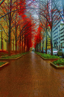 Indianapolis Autumn Trees Oil Print by David Haskett
