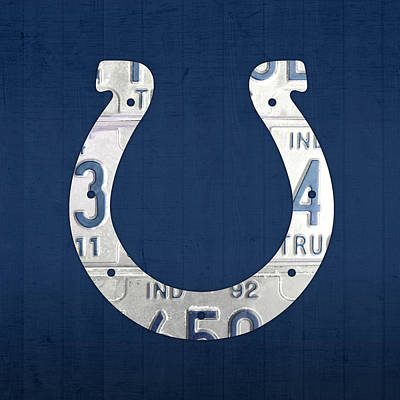 Indianapolis Colts Football Team Retro Logo Indiana License Plate Art Print by Design Turnpike