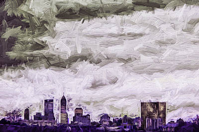 Indianapolis Indiana Skyline Digitally Painted Purple 1 Print by David Haskett