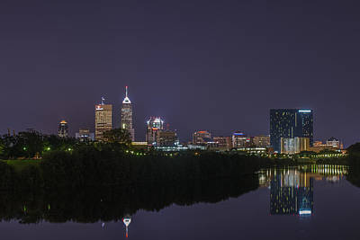 Indianapolis Indiana Skyline Night 9891 Print by David Haskett
