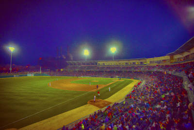 Indianapolis Indians Night Oil V Print by David Haskett