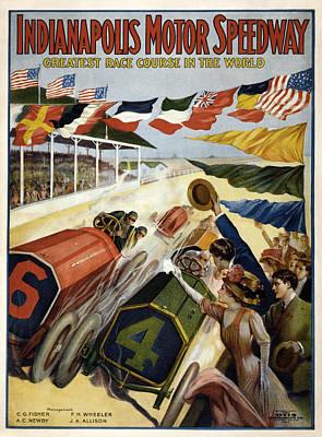 Otis Photograph - Indianapolis Motor Speedway 1909 by Georgia Fowler
