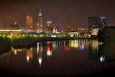 Indianapolis Skyline At Night Indy Downtown Color Panorama Print by Jon Holiday
