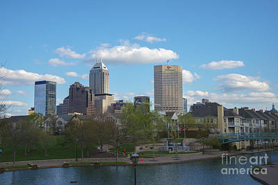 Indianapolis Skyline Blue 2 Print by David Haskett