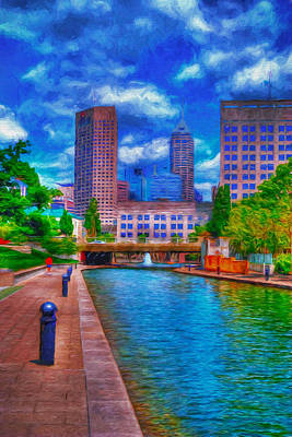 Indianapolis Skyline Canal View Digitally Painted Blue Print by David Haskett