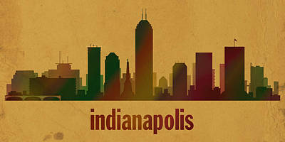 Indianapolis Skyline Watercolor On Parchment Print by Design Turnpike