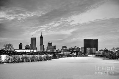 Citylife Photograph - Indianapolis Winters Tale Black And White 2014 by David Haskett