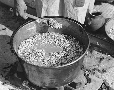 Indians Cooking Corn Print by Underwood Archives Onia