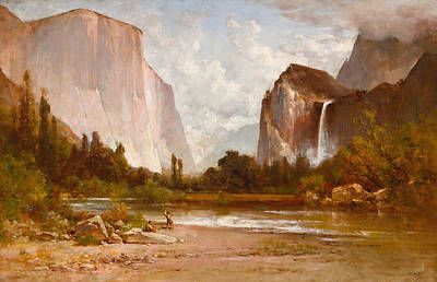 Thomas Hill Painting - Indians Fishing In Yosemite by Thomas Hill