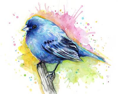 Bunting Painting - Indigo Bunting Blue Bird Watercolor by Olga Shvartsur