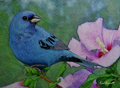 Bunting Painting - Indigo Bunting No 1 by Ken Everett