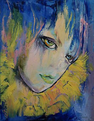 Women Faces Painting - Indigo by Michael Creese