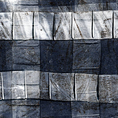 Fabric Mixed Media - Indigo Squares 1 Of 5 by Carol Leigh