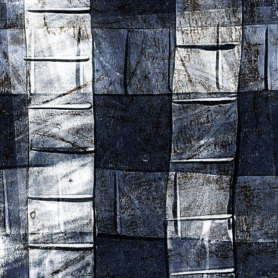 Fabric Mixed Media - Indigo Squares 2 Of 5 by Carol Leigh