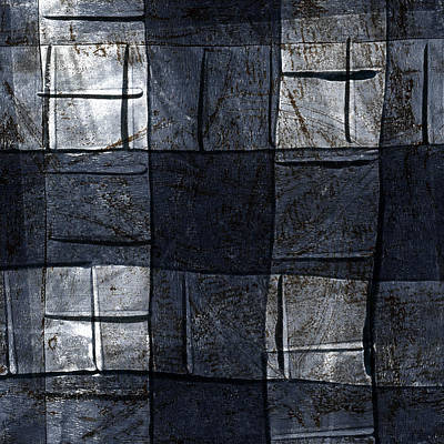 Fabric Mixed Media - Indigo Squares 4 Of 5 by Carol Leigh