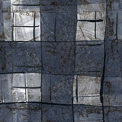 Fabric Mixed Media - Indigo Squares 5 Of 5 by Carol Leigh