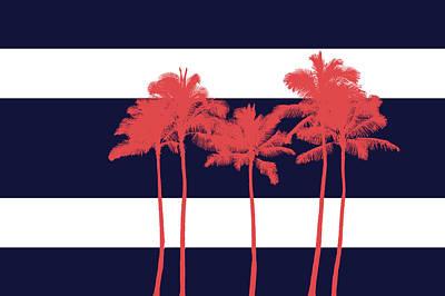 Contemporary Beach Painting - Indigo Stripe Palms I by Ramona Murdock